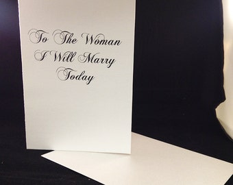 To The Woman I Will Marry Today - note card stationary bride / groom card wedding / Love Letter Swarovski rhinestone