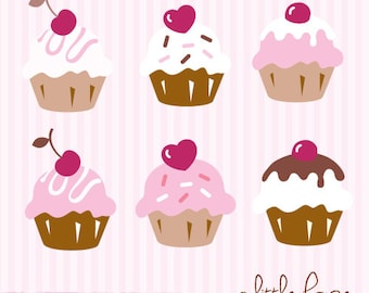 Six Cute Cupcakes Digital Clip Art - PNG files instant download V.2