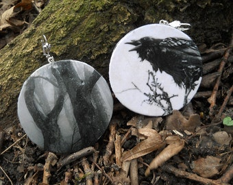 Earring Behind the trees, Raven, Crow, Tree