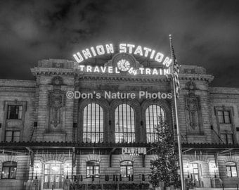 Union Station, Denver, Colorado, at night.  Black & White. Solid black wrap. #2154