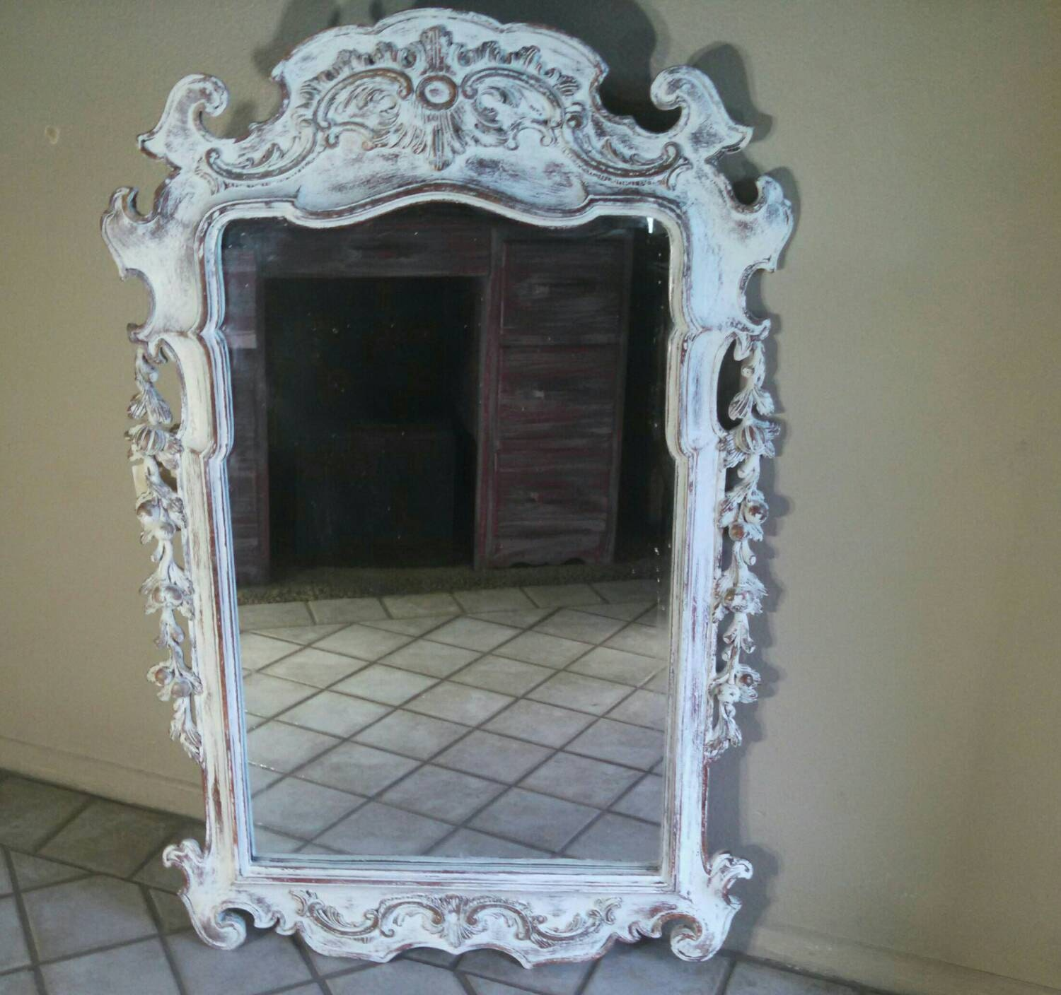 Fancy ornate white mirror beach cottage mirror white mirror for Fancy white mirror