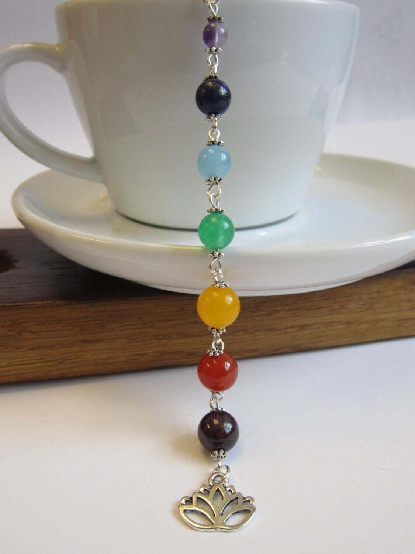 7 chakra chain necklace 7 chakra link pendant 7 chakra