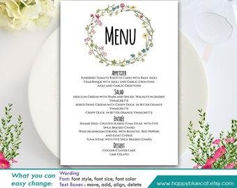 "DiY Printable Wedding Menu Template - Instant Download - EDITABLE TEXT - Spring Flowers, Wreath  5""x7"" - Microsoft® Word Format HBC8n"