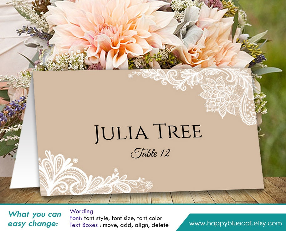 Diy printable wedding place card template instant download for Templates for place cards for weddings