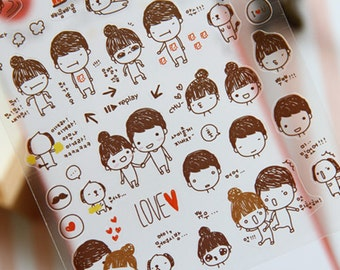 Cute Stickers, Lover Sticker, Cute Girl Sticker, Korean Sticker, Scrapbook