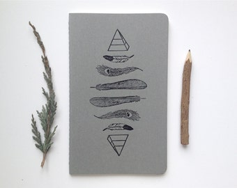 Letterpressed Moleskine Journal - Feathers & Pyramids Pattern