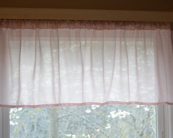 Window Valance, pink Sheer valance, Baby pink sheer valance, pink Girls nursery Valance, Bathroom Valance, Gathered sheer valance