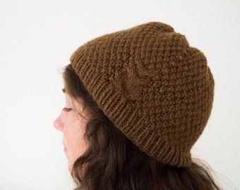 Brown Knit Owl Cable Beanie