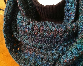Crochet Lacy Cowl - Lacy Infinity Scarf - Lacy Cowl - Blue Green Multi - Circle Scarf - Ready to Ship
