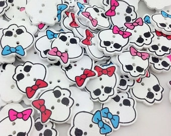 New 100pc Skull With Bow Button DIY Scrapbooking Appliques Craft WB209