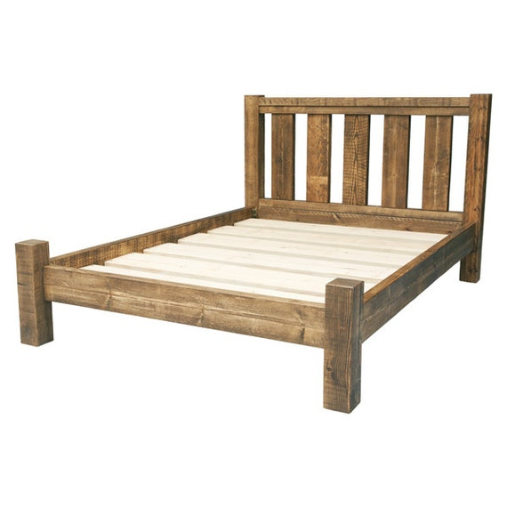 Rustic solid wood bed frame with slatted by Rustic bed frames