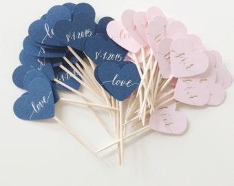 Mini Heart Toothpicks/Stirrers - Calligraphy - Custom - Set of 20