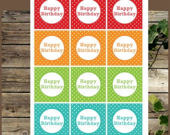 Printable Rainbow Happy Birhtday Cupcake Toppers, Instant Download, Birthday Decoration, Printable Party Supplies