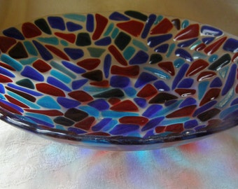 Large fused glass bowl blue red