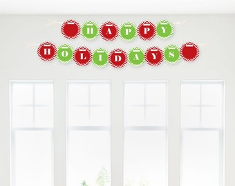 Christmas Garland Banner - Custom Red and Green Chevron Party Decorations