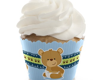 Boy Teddy Bear Cupcake Wrappers - Baby Shower or Birthday Party Cupcake Decorations - Set of 12