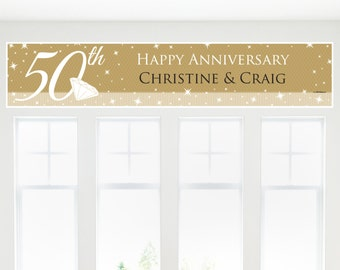 50th Anniversary Party Banner - Custom Anniversary Party Decorations