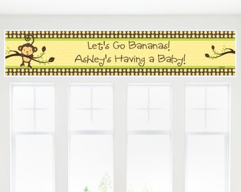 Monkey Banner - Custom Baby Shower or Birthday Party Decorations