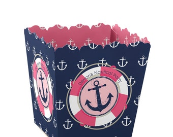 Ahoy - Nautical Girl Custom Small Candy Boxes - Personalized Baby Shower or Birthday Party Supplies - Set of 12