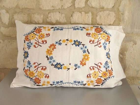 VINTAGE SWEDISH PILLOW case / Hand made / Sewing / Embroidery