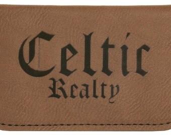 Light Brown Leatherette Soft Business Card Holder