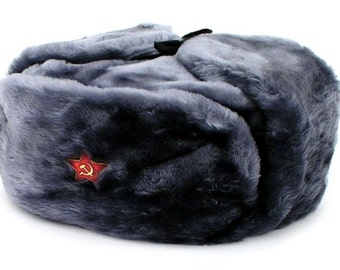 Authentic Russian Military Gray Ushanka Hat Soviet Red Star Hammer and Sickle