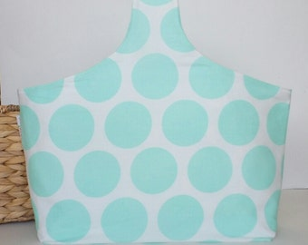 SALE!! Mint Green Polka Dot Chevron Knitting Project Bag, Knitting Tote Bag, Knitters Bag, Reversible, Yarn Bag Yarn Tote Bag