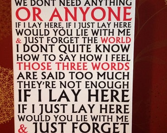 "Lyrics Canvas, Chasing Cars ""If I lay here"", Romantic Gift"