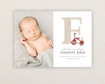 Boys Photo Birth Announcement. Trike Letter. I Customize, You Print.