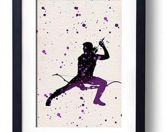 The Avengers movie poster art print Hawkeye comic book art fan art wall decor home decor geek art