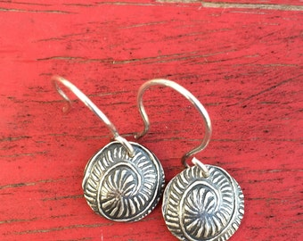 Silver Earrings - Spiral textured convex disks