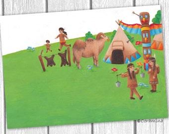"Originalillustration  ""Indianer - Teil 1"""