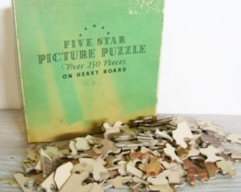 Vintage Five Star Jigsaw Picture Puzzle On Heavy Board Interlocking Jigsaw Puzzle The Mill 1940s