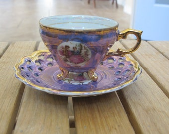Vintage Royal Crown 55/906 Fine China cup and saucer, reticulated lattice-free shipping