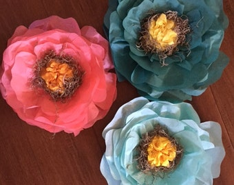 "Three 12"" tissue flowers"