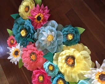 Lot of 15 tissue paper flowers