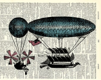 Steampunk Blimp Balloon art Print. Vintage book page art print. Print on book page.