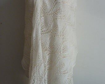Hand knitted off white lace shawl/ Bridal shawl/ Unique wedding scarf