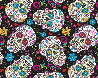 Fabric by the Yard - Day of the Dead Black Cotton