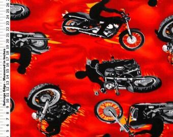 Fabric by the 1/2 Yard - Biker on Fire Anti-Pill Fleece