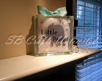 Elephant Home decor Custom 8 x 8 Lighted Glass Block.  Themed and personalized to suit.