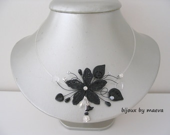 Black costume jewelry necklace black flower lace black and transparent beads