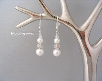 wedding jewelry earrings white pearls and rhinestones round beads