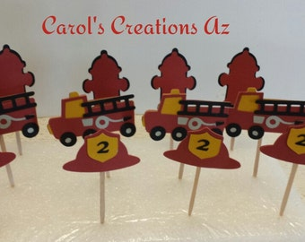 12 Fire Truck Themed Party Picks / Fire Truck Themed Cupcake Toppers / Boy Fire Truck Party / Customized Party Picks