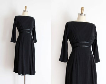 vintage 1950s dress // 50s black evening designer dress