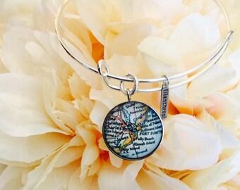 Charleston Map Bangle Bracelet/ Silver