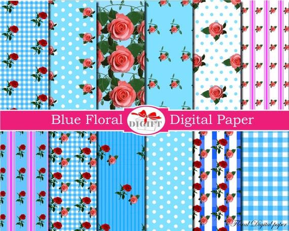 Light Blue Floral Digital Paper flower decor Shabby chic digital paper Floral decal Rose scrapbook paper flowers decals Floral background