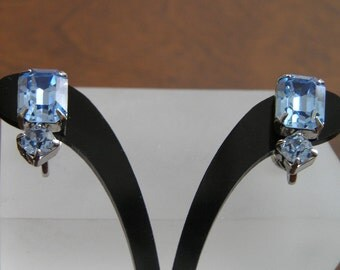 Weiss Blue Rhinestone Earrings, Weiss Rhinestone Earrings, Weiss Emerald Cut Rhinestone Earrings, Weiss Blue Emerald Cut Rhinestone Earrings