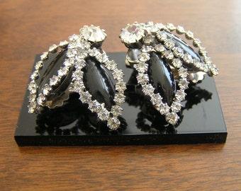 Weiss Marquis Rhinestone Earrings,Weiss Black Earrings,Weiss Black Rhinestone Earrings,Weiss Black and Clear Rhinestone Earrings,Black Weiss