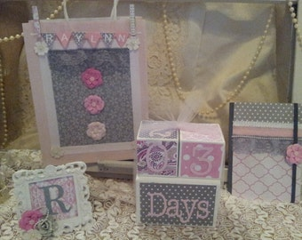 Baby Shower Gift Set, Custom Age Blocks, Memory Journal, Picture Frame, Baby Countdown Blocks, Baby Age Blocks, Pink and Grey